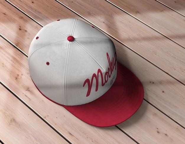 Widok z góry na makietę czapki sportowej