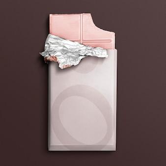 Widok z góry na makietę opakowania różowej czekolady