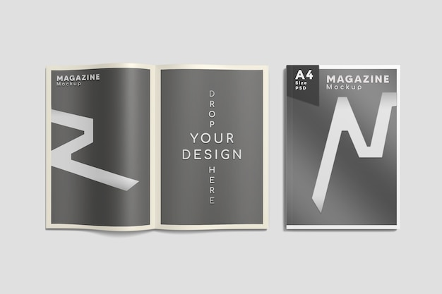 Widok z góry na otwartą i okładkową makietę magazynu a4