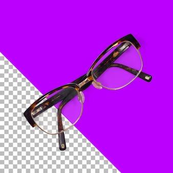 Widok z góry na pojedyncze przezroczyste okulary przeciwsłoneczne w stylu vintage