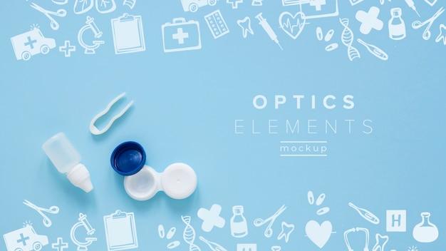 Widok z góry optyka układ martwa makieta