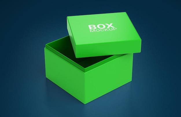 Widok z góry otwartego prostego kwadratowego pudełka z makietą