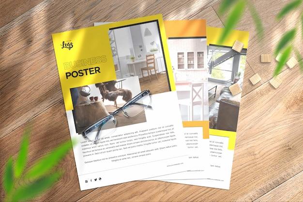 Widok z góry plakaty portretowe makieta premium z dodatkowymi efektami