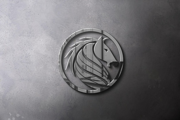 Widok z góry projekt makiety srebrnego logo