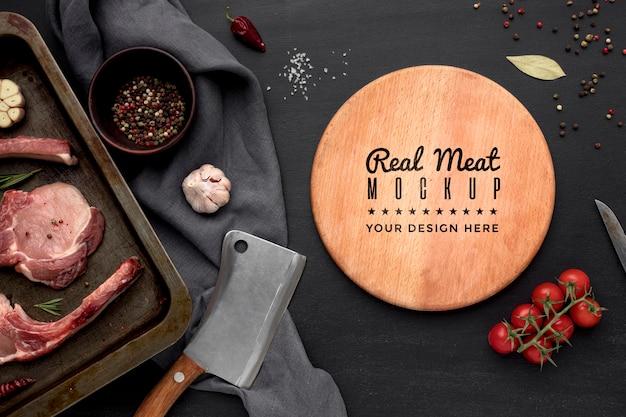 Widok z góry przyprawione surowe mięso