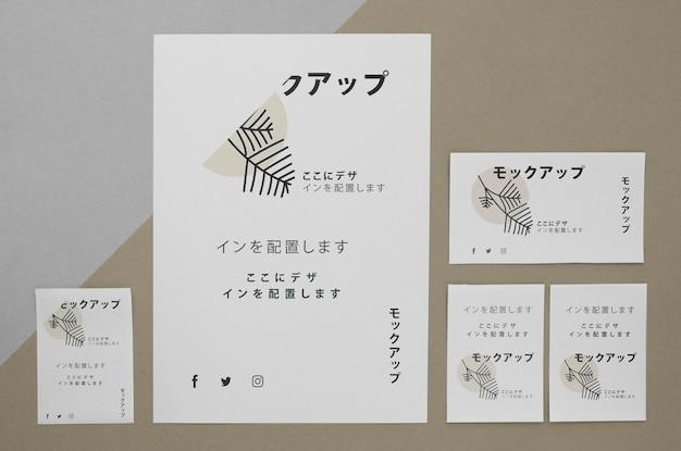 Widok z góry różne japońskie makiety dokumentu