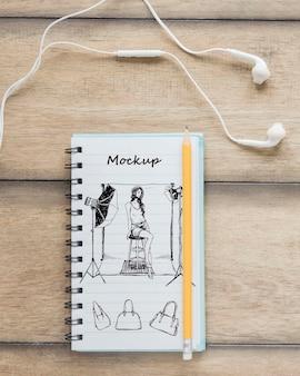 Widok z góry rysunek notatnika z makiety