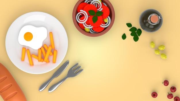 Widok z góry smaczne jedzenie render makieta