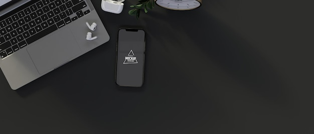 Widok z góry smartfona z ekranem makiety, laptopem, materiałami eksploatacyjnymi i przestrzenią do kopiowania, renderowanie 3d, ilustracja 3d