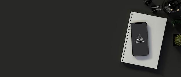 Widok z góry smartfona z ekranem makiety, notatnikiem, artykułami papierniczymi i kopią, renderowaniem 3d, ilustracjami 3d