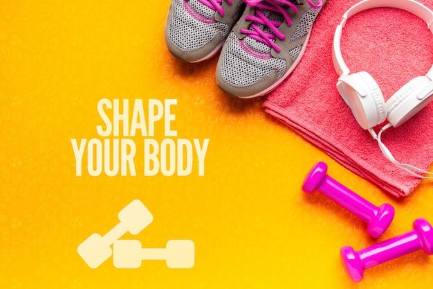 Widok z góry sprzęt fitness i heaphones