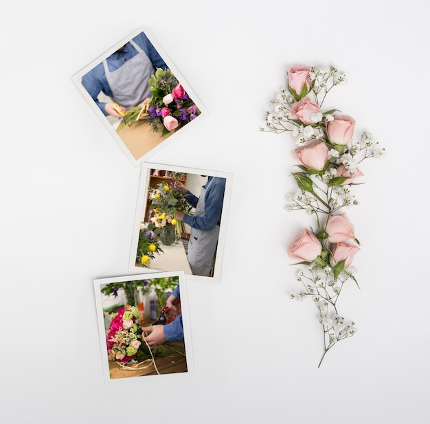 Widok z góry wiosennych róż ze zdjęciami