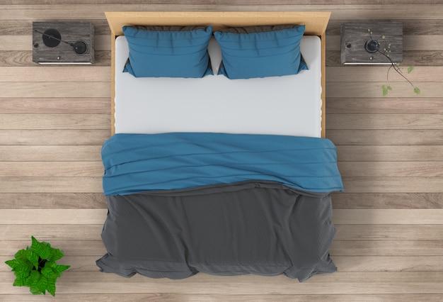 Widok z góry wnętrza sypialni. 3d render
