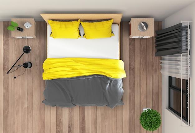 Widok z góry wnętrza sypialni. renderowanie 3d