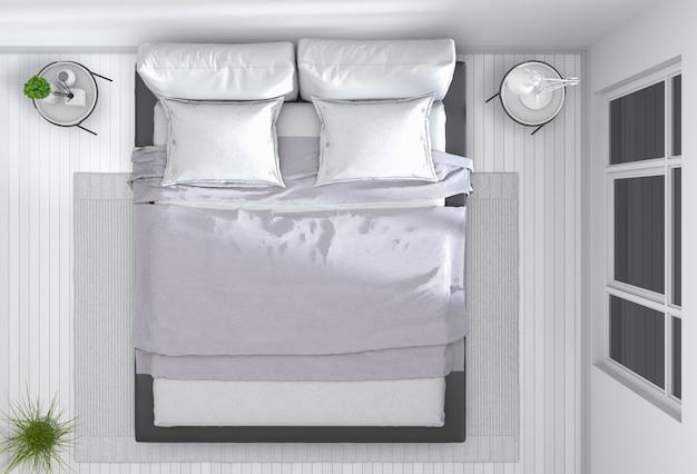 Widok z góry wnętrza sypialni