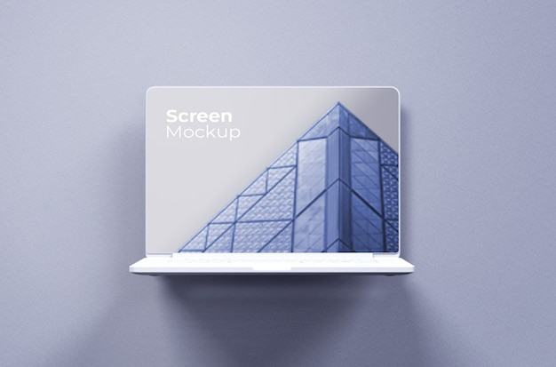Widok z przodu białej makiety gliny macbooka pro