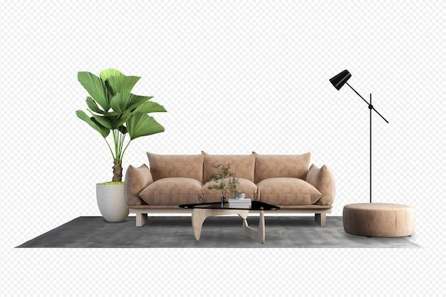 Widok z przodu brązowej sofy i rośliny w renderowaniu 3d