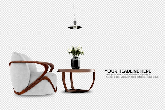 Widok z przodu fotela i biurka w renderowaniu 3d