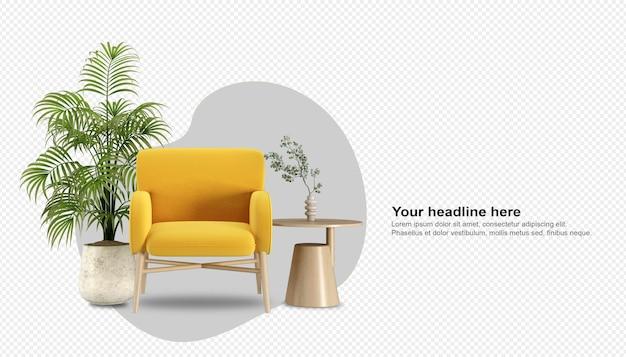 Widok z przodu fotela i platn w renderowaniu 3d