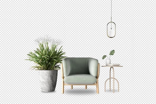 Widok z przodu fotela i rośliny w renderowaniu 3d