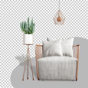 Widok z przodu fotela i zakładu w renderowaniu 3d