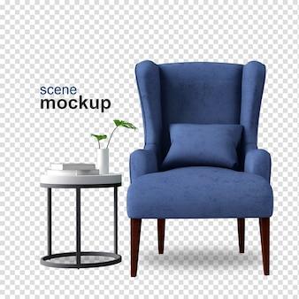 Widok z przodu fotela w renderowaniu 3d