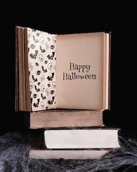 Widok z przodu książki makiety z czarnym tłem