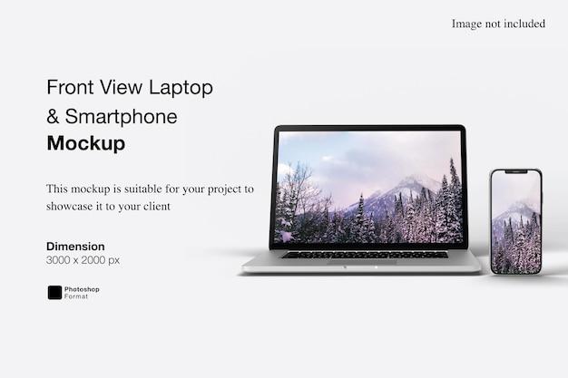 Widok z przodu laptopa i projekt makieta smartfona na białym tle