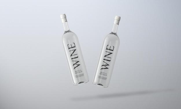 Widok z przodu makieta butelki wina białego na białym tle
