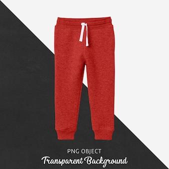 Widok z przodu makiety czerwonych spodni dresowych dla dzieci
