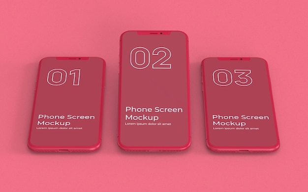 Widok z przodu makiety ekrany czerwony telefon