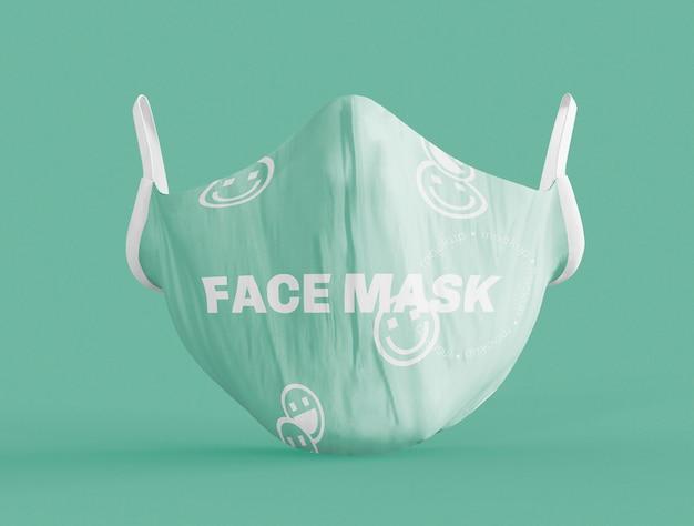 Widok z przodu makiety medycznej maski na twarz