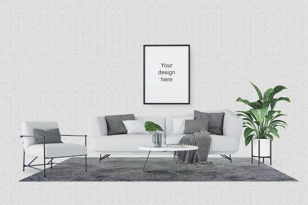 Widok z przodu makiety ramki z sofą i roślin