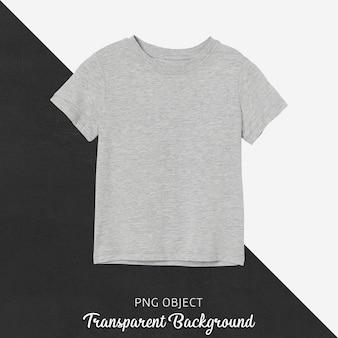 Widok z przodu makiety szarej podstawowej koszulki dziecięcej