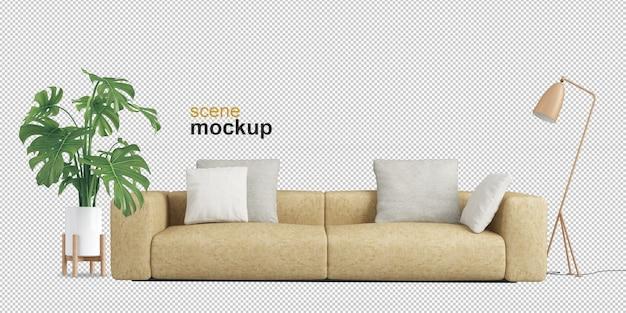 Widok z przodu na sofę i roślinę monstera w renderowaniu 3d