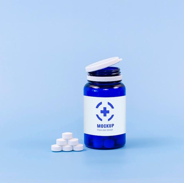 Widok z przodu pojemnika na tabletki