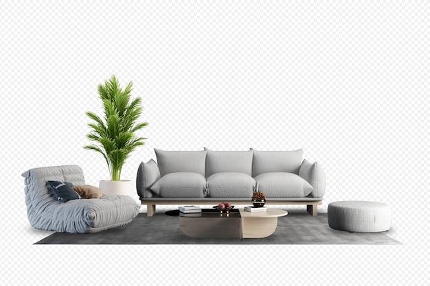 Widok z przodu sofy i rośliny w renderowaniu 3d