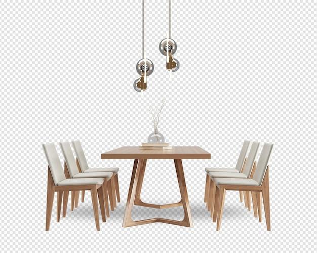 Widok z przodu stołu i krzesła w jadalni w renderowaniu 3d