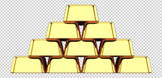 Widok z przodu stosu sztabek złota