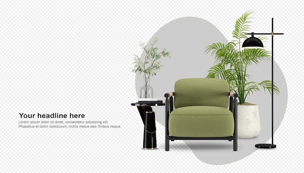 Widok z przodu zielony fotel i roślina w renderowaniu 3d
