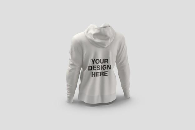 Widok z tyłu bluza z kapturem makieta renderowania na białym tle