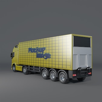 Widok z tyłu pół boczny makiety przyczepy ciężarówki