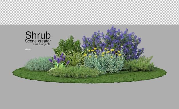 Wiele krzewów i roślin kwitnących w małym ogrodzie