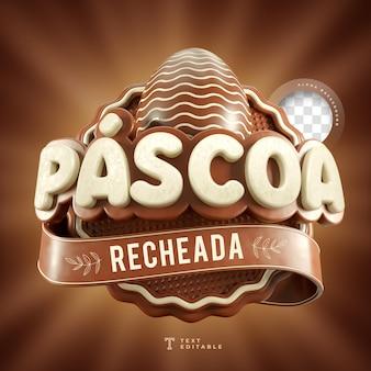 Wielkanoc nadziewane w brazylii z renderowania 3d czekoladowe jajko