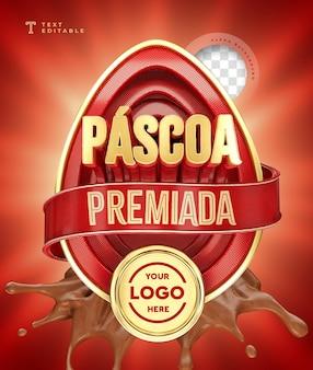 Wielkanoc przyznana w brazylii renderowania 3d czekolada