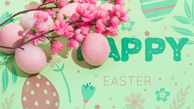 Wielkanocna makieta z copyspace dla tekstu lub logo