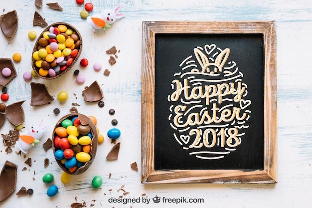 Wielkanocna makieta z łupków i słodyczy