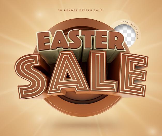 Wielkanocna sprzedaż 3d render czekolady