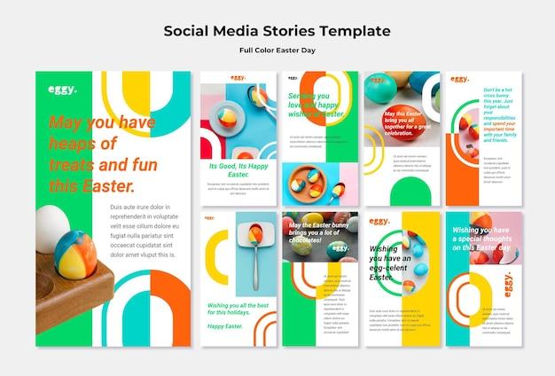 Wielkanocne historie na instagramie z kolorowymi detalami