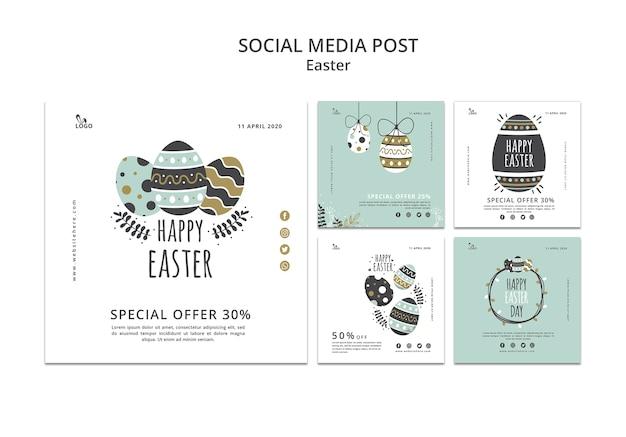 Wielkanocne szablony postów w mediach społecznościowych